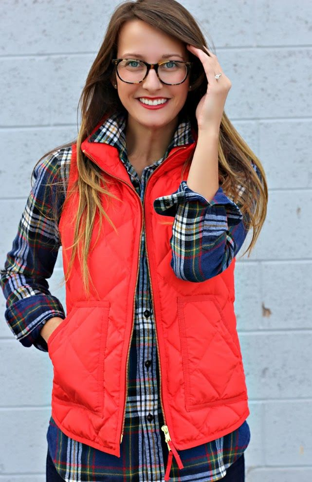 flannel, a quilted vest and warby parker glasses