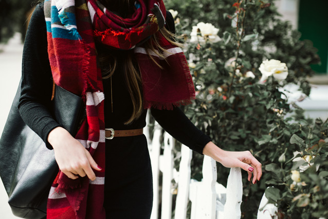 finding beautiful truth, sweater dress, blanket scarf