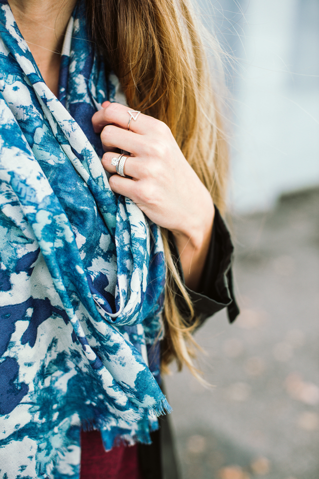 silver rings, finding beautiful truth, floral silk scarf