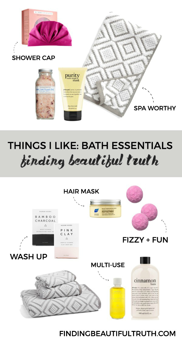 bath essentials for at home spa day | via Finding Beautiful Truth