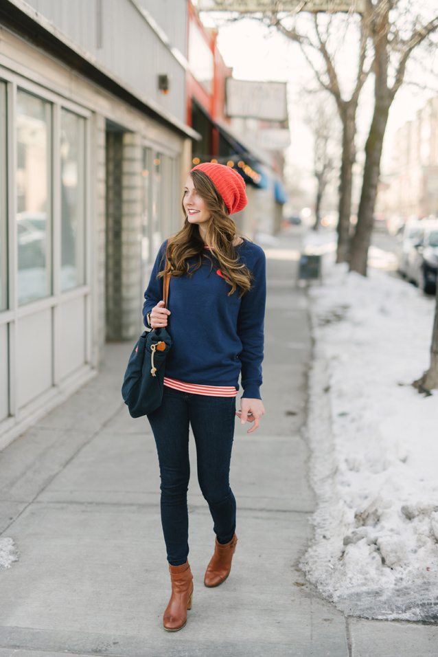 casual heart sweatshirt styled with stripes | via Finding Beautiful Truth