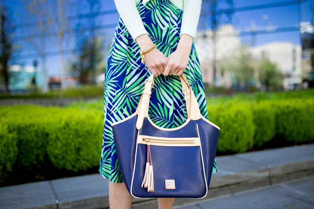 royal blue Dooney & Bourke tote styled with palm print | via Finding Beautiful Truth