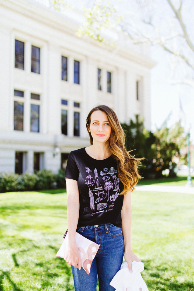 summer graphic tee styled with a white denim jacket | via Finding Beautiful Truth