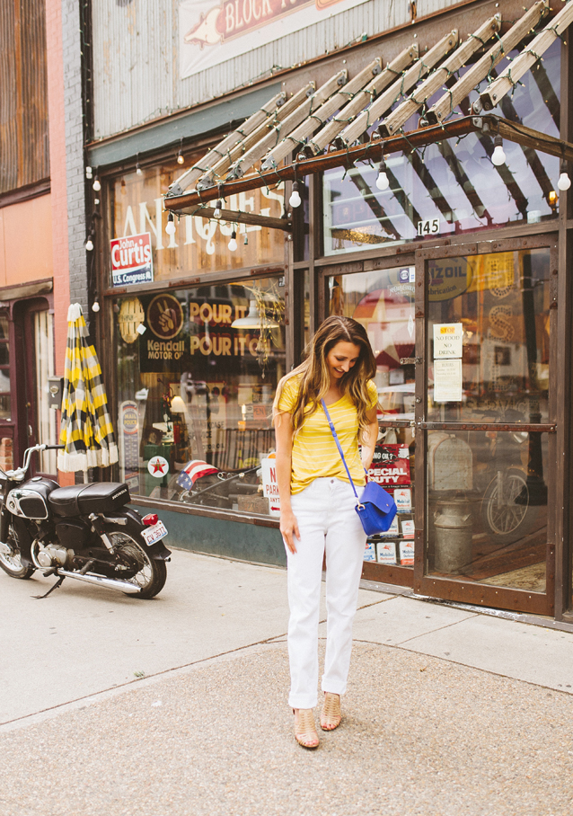 $50 GIVEAWAY + transitioning into fall with vintage white denim | via Finding Beautiful Truth