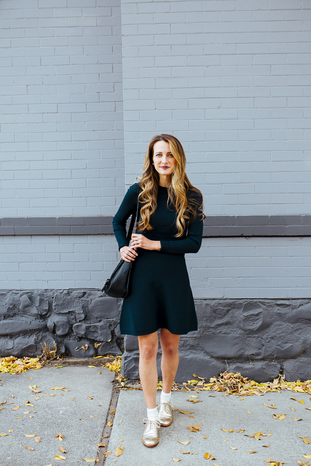 celebrating sweater dress season in gold metallic shoes | holiday ready via Finding Beautiful Truth