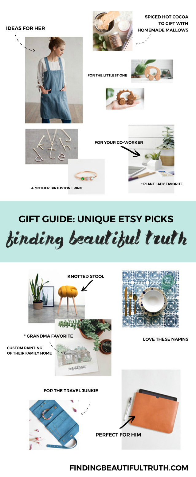 unique etsy picks | holiday gift guide via Finding Beautiful Truth