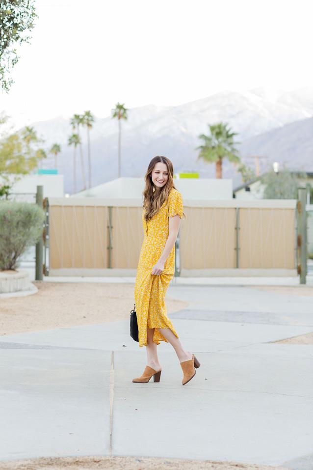 yellow midi dress in Palm Springs, California | Finding Beautiful Truth